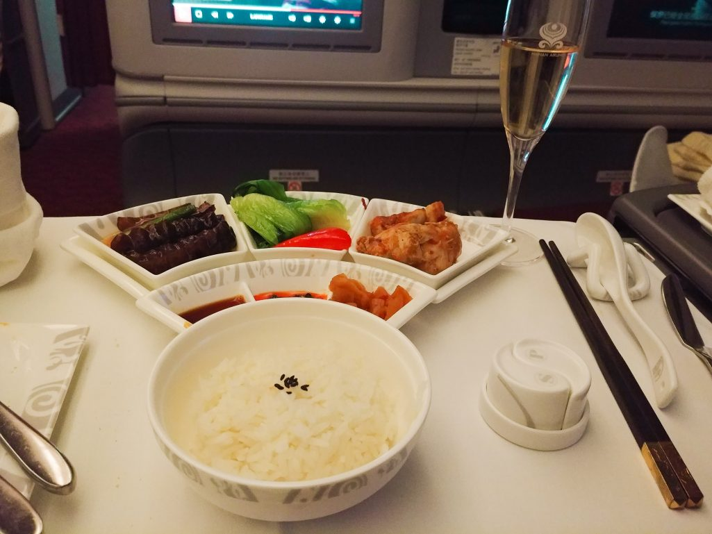 Main course of Kung Pao Chicken on Hainan Airlines business class flight