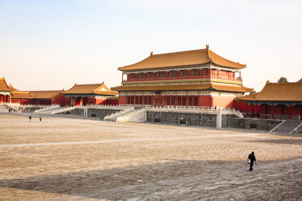 Empty cobble stone square in the forbidden city Beijing