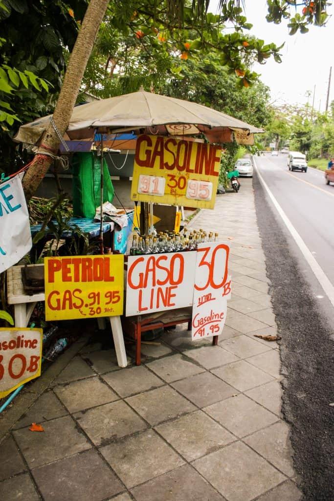 Gasoline stand in Phuket Thailand