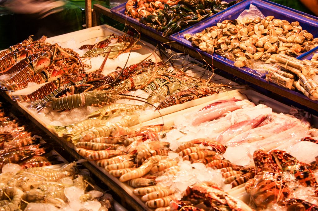 Seafood selection at Banzaan fresh market in Phuket, Thailand