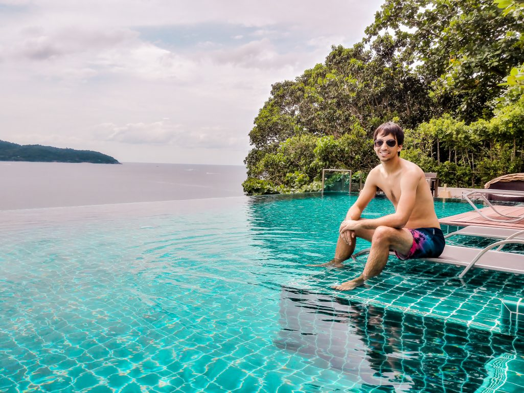 Kyle at the infinity pool of the U Zenmaya hotel in Phuket, Thailand