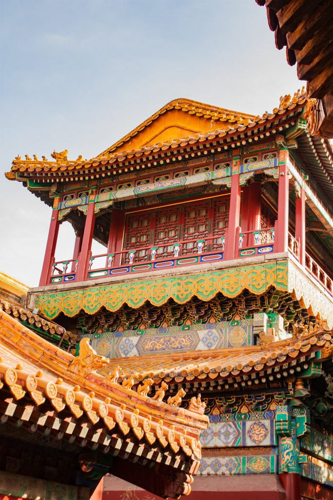 Colourful and detailed palace in the forbidden city, Beijing