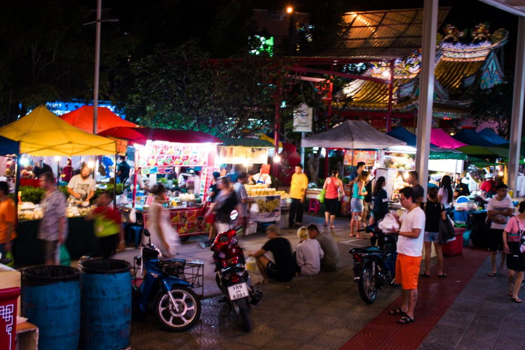Busy Banzaan market area at night in Phuket, Thailand