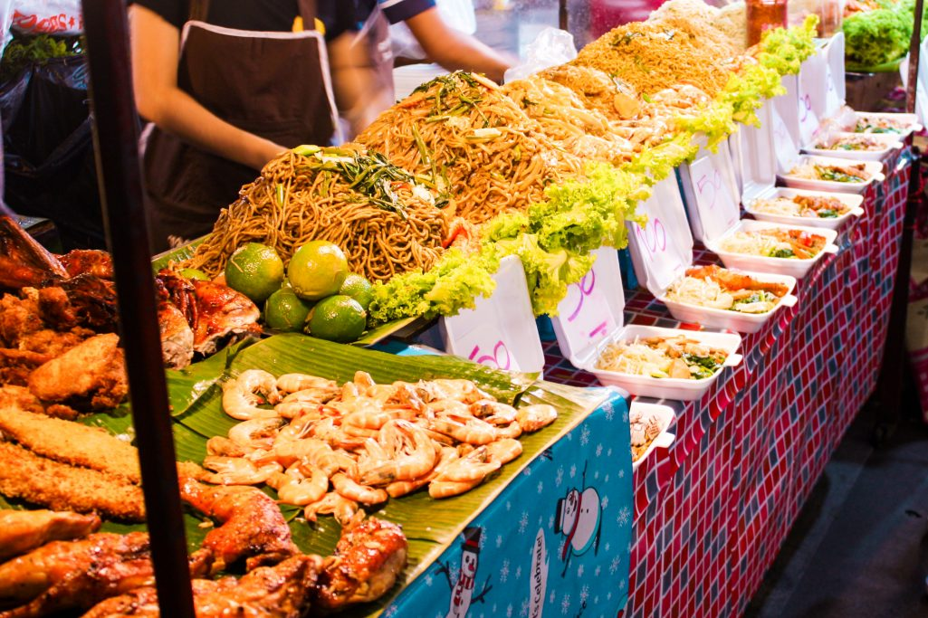 Fried thai noodles selection at Banzaan fresh market in Phuket, Thailand