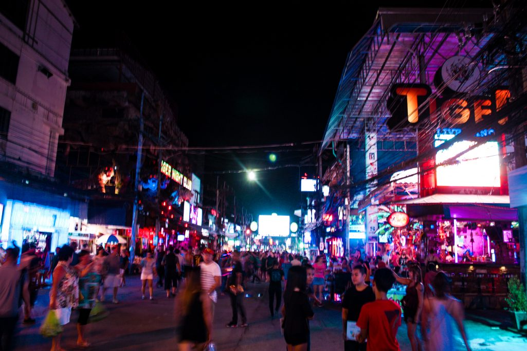 Busy nightlife at Patong Beach, Phuket, Thailand