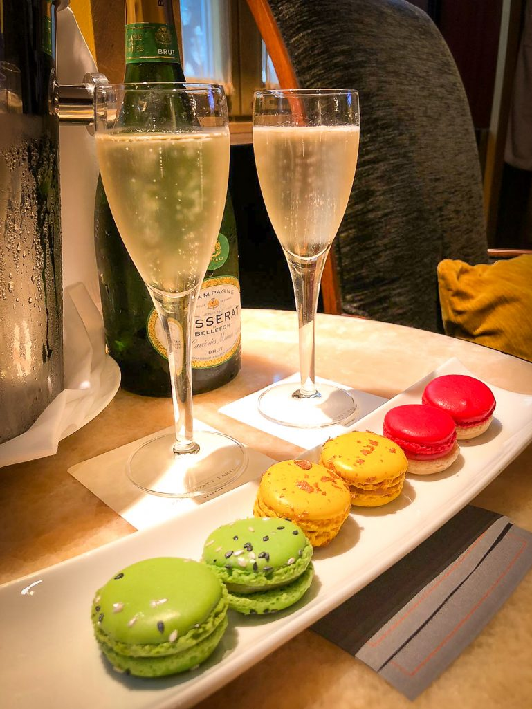 Champagne and macarons at the Park Hyatt Paris Vendome - during our surprise in Paris